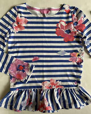 Joules UK Girls Long Sleeve Striped Floral Top Size 9-10