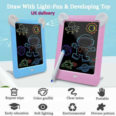 3D Magic Drawing Pad LED Light Glow Art Writing Puzzle Board -Kids Toys & Gifts