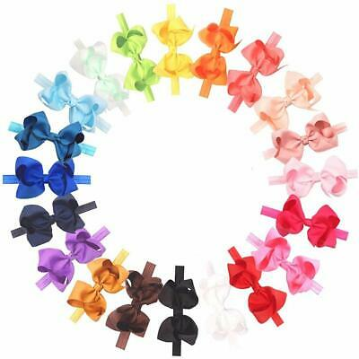 Baby Girls Toddler Hair Bows Headbands Large Pack of 20 (Soft Elastic)100% Brand