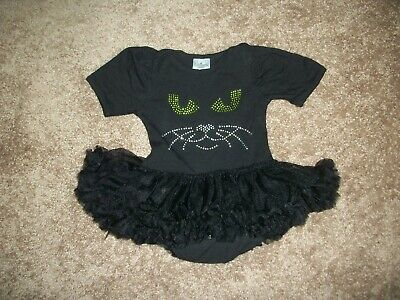 "Baby Girls One Piece Ruffle ""Black  Cat""  Outfit...size 9-18 Months"