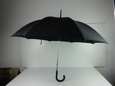 Vintage Fulton Umbrella Canopy Style Black Unisex Leather Crook Handle 100cm