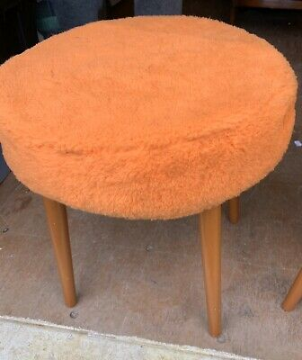 Mid Century Modern 1960's Fluffy Round Stool Bright Orange Retro By sherbor