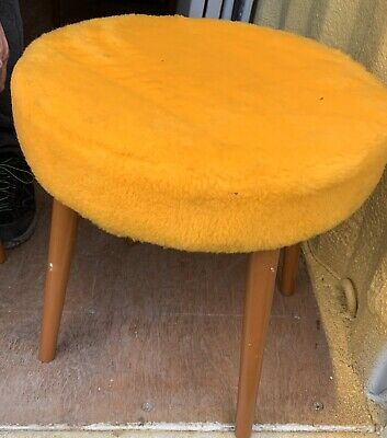 Mid Century Modern 1960's Fluffy Round Stool Bright Yellow Retro By Sherborne