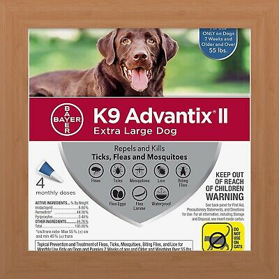 K9 Advantix II Flea & Tick Treatment for Extra Large Dogs Over 55 lbs - 4 Pack