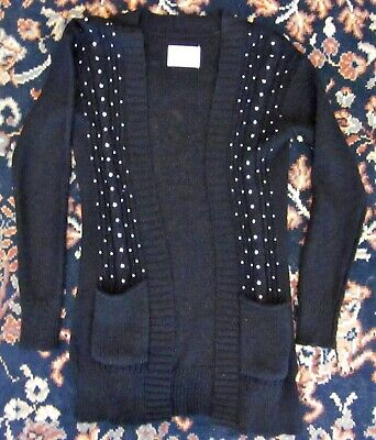 Justice For Girls Black Cotton/Poly Knit Sequinned Sweater Size 10