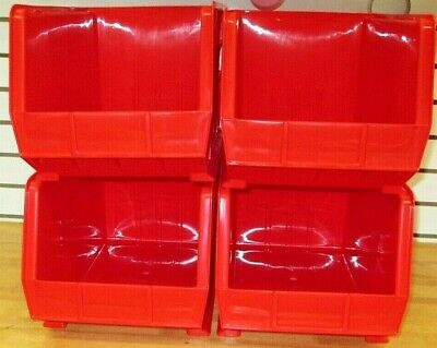 Uline Plastic Stackable Bins  / Red / Pn  S-12421R / New 4 Pieces, 1 Case