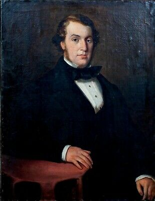 Large 19th Century English School Portrait Of A Gentleman Antique oil Painting