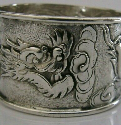SUPERB CHINESE EXPORT SILVER DRAGON NAPKIN RING c1900 ANTIQUE