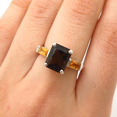 925 Sterling Silver Real Smoky Quartz & Citrine Gemstone Ring Size 7