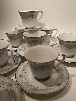 Noritake Contemporary Fine China Blue Hill 8x Tea Cups and Sausers