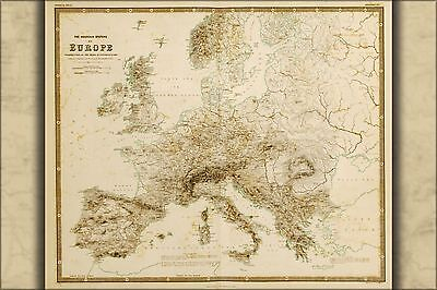 Poster, Many Sizes; Map Of Mountain Systems In Europe 1848