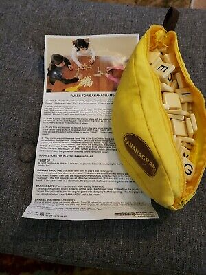 Bananagrams Word Tile Game Fast Fun travel game Complete with Instructions euc