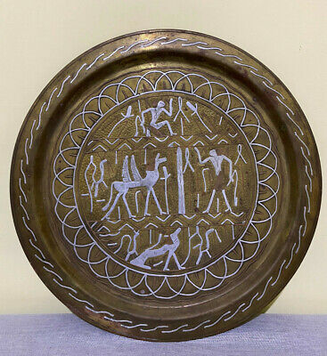VINTAGE EGYPTIAN PHARAONIC Plate Copper Silver ENGRAVED Handmade 1970