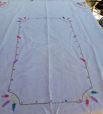 """Tablecloth/Light Linen /White Embroidered Floral W/ French Knots 48""""X66""""Vintage!"""