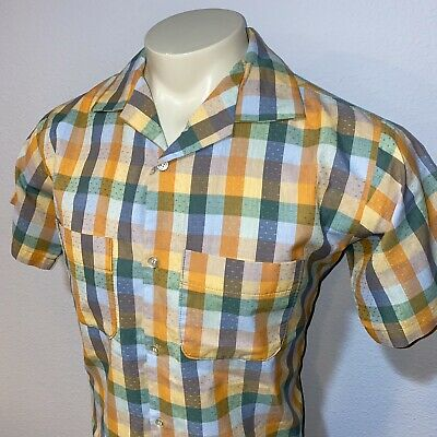 Vtg 50s 60s Orange Green PLAID Button Shirt Rat Pack Mid Century Mens LARGE