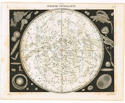 Genuine Antique Print Vintage 1851 Engraving Astronomy Southern Star Map Chart
