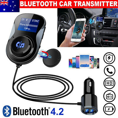 Hands Free Bluetooth Car FM Transmitter Wireless AUX Audio Receiver USB Charger