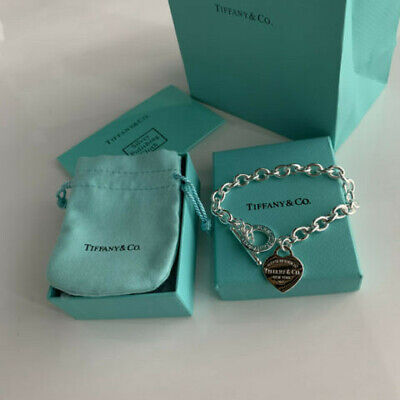 Tiffany & Co. Heart Tag Toggle Charm Bracelet 925 Sterling Silver