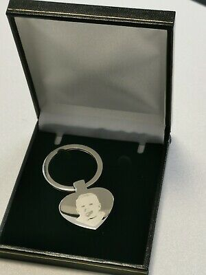 Personalised Photo & Text Engraved Heart Keyring stainless Steel gift