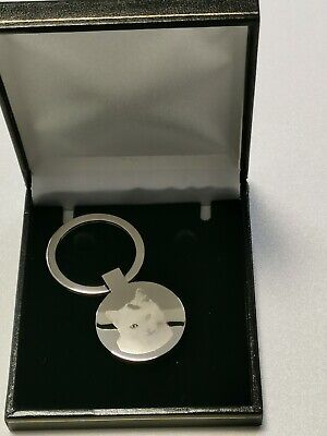 Personalised Photo & Text Engrave Circle Keyring stainless Steel gift