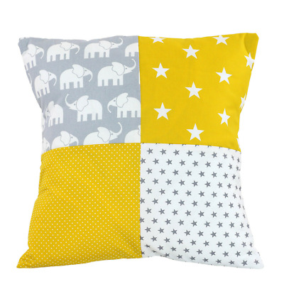 """Nursery Pillow Cover – Organic Cotton Baby Pillow Cover, Elephant Yellow, 20"""" x"""