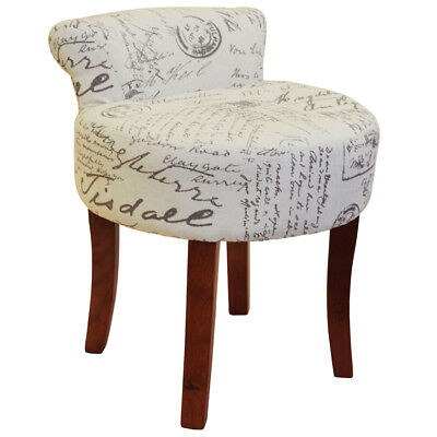 Padded Stool with Retro French Print and Wood Legs - Cream / Brown OCH8105