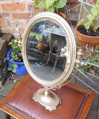 Lovely Oval Art Nouveau Style Brass Dressing Table/Vanity Swing Mirror On Stand