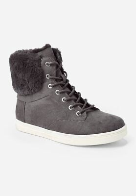Justice Girls Size 1 Fur Back High Top Sneakers Charcoal Gray Brand New With Tag
