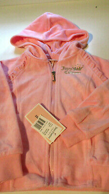 Nwt Juicy Couture Girls Hooded Velour Zip Front Jacket Pink 3T