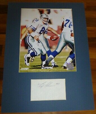 TROY AIKMAN-A Hand Signed Card,Presented With A Photo-Mounted & Matted,COA