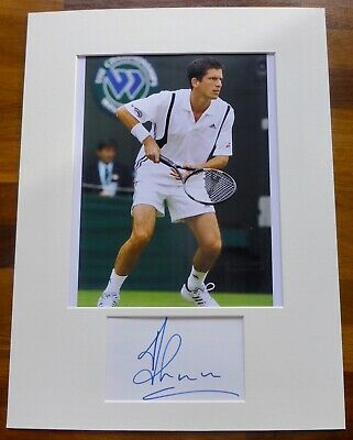 TIM HENMAN-Hand Signed Card is Presented With A Photo-Mounted & Matted,COA