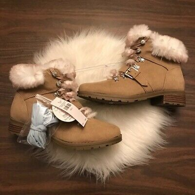 JUSTICE Girls Faux Fur Hiking Boots Size 12 NWT