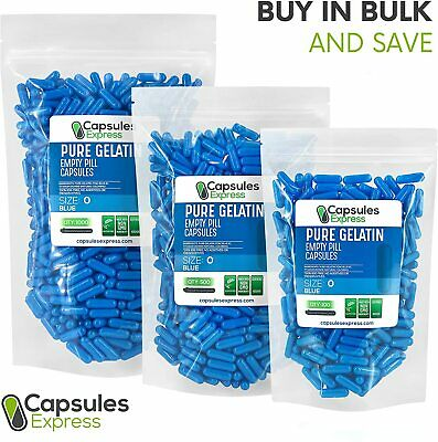 Size 0 Blue Empty Gelatin Gelcaps Capsules Caps Kosher Gluten-Free Made in USA