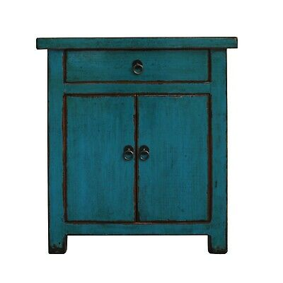Oriental Distressed Teal Blue Lacquer Side End Table Nightstand cs5365