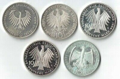 1988/92/92/94/94 Germany 10 Marks, 5 Silver Coins, Wholesale