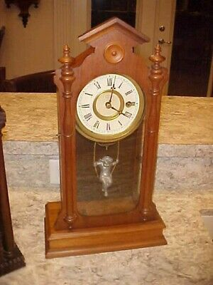 Very Rare Front To Back Kroeber Angel Swing Mantle Clock 100% Original 8 Day!
