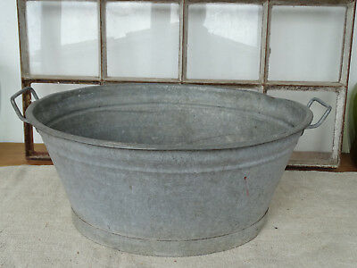 R6902 Beautiful Oval Washtub~RAR ~ Zinc~ Bathtub Zinc Plated ~ 24x20 1/8in
