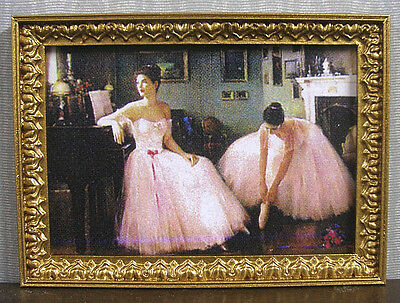 FRAMED  PICTURE  ~  Ballerinas ~ Dollhouse Miniature ~ 1:12 scale ~ Room Box
