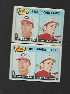1965 Topps #243 Reds Rookies Tommy Helms 2 Card Lot Bv $12 Vg+ Ex