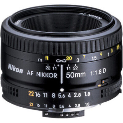 Nikon AF FX Full Frame NIKKOR 50mm f/1.8D Lens with Auto Focus - REFURBISHED