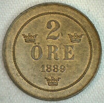 1889 Sweden Uncirculated Bronze 2 Ore Coin Swedish Two ore UNC coin