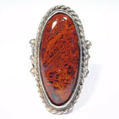 Old Southwest Agate Silver Ring Beautiful Stone Size 5