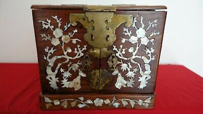 Antique Chinese Wood Vanity Chest Jewelry Box with Mother of Pearl and Mirror