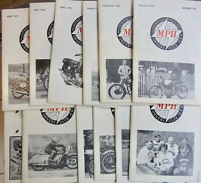 1972 Vincent Owners Club Mph Bulletins Annee Complete 12 Numeros