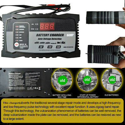 Smart Battery Charger 2A 6A 24V12V6V Automatic AGM Car Truck Boat Motorcycle GEL