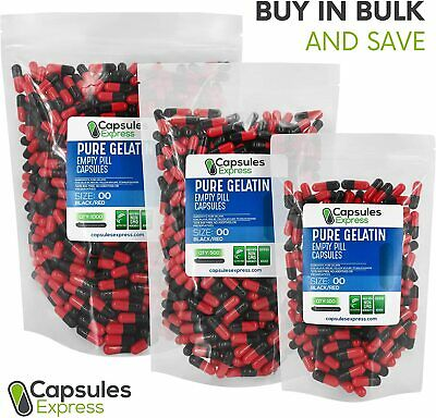 Size 00 Black & Red Empty Gelatin Pill Capsules Kosher Gel Caps Gluten-Free US