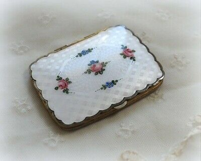Sweet Scalloped Edge Vintage White Guilloche Enamel Compact Pink Roses