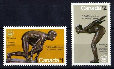 1975 CANADA OLYMPIC SCULPTURES $1 & $2 STAMPS, MINT NEVER HINGED, Scott #656-657