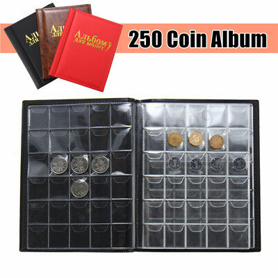 250 Coin Collection Holders Storage Collecting Money Penny Pockets Album Book LE
