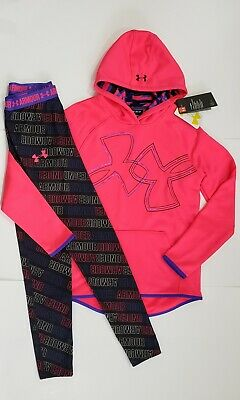 Under Armour Girls YMD Athletic Hoodie Pullover & LEGGINGS SIZE 10/12